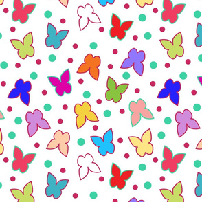 Happy Butterflies - large, white