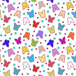 Happy Butterflies on White