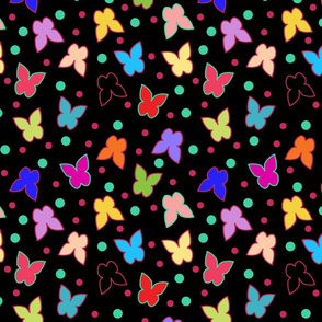 Happy Butterflies on Black