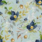 Indigo Autumn Woods Florals // Submarine
