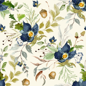 Indigo Autumn Woods Florals // Rum Swizzle