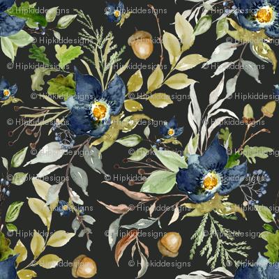 Indigo Autumn Woods Florals // Charcoal Metal