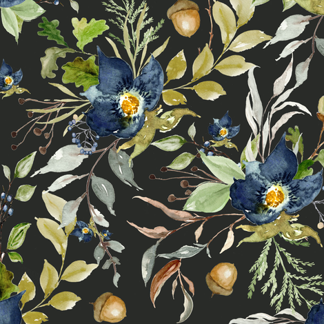 Indigo Autumn Woods Florals // Charcoal Metal fabric by hipkiddesigns on Spoonflower - custom fabric