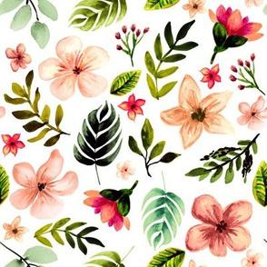Hawaiian Sunset Florals // White
