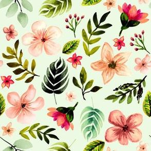 Hawaiian Sunset Florals // Minty Ice