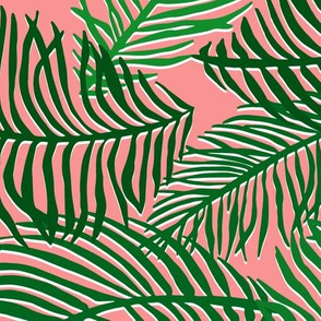 Tropical Palm Leaves Green Pink