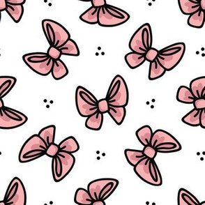 Cute red bow cartoon seamless pattern.