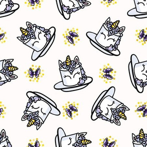 Cute unicorn cake cartoon seamless pattern.