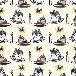 Cute unicorn cake with candle cartoon seamless pattern.