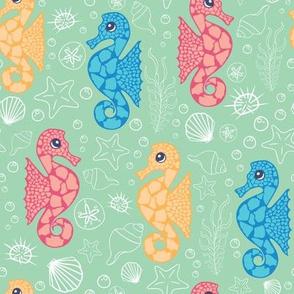 Green Sea Seahorses