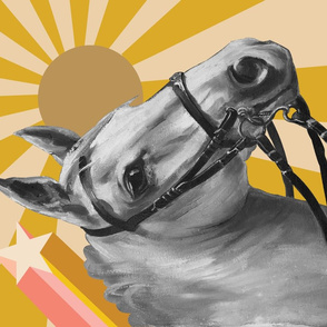 Pinto Tea Towel* (Sunburst) || horse equestrian retro 70s shooting star sun
