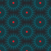 ★ DARK SUNSHINE ★ Teal, Red, Black - Small Scale / Collection : Abstract Geometric Prints