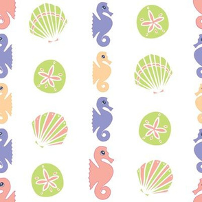 Pastel Seahorses with seashells
