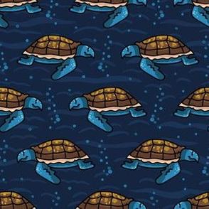 Cute sea turtle cartoon seamless pattern.