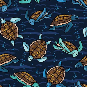 Cute swimming group of sea turtles cartoon seamless pattern.