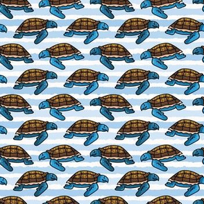 Cute sea turtle stripe cartoon seamless pattern.