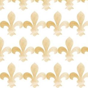 French Fleur de Lis Gold fog smaller on white-ed