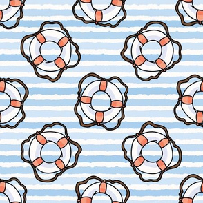 Cute white and red lifering in the ocean cartoon seamless pattern.