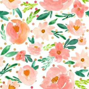 Summer's Blush Coral Watercolor Florals -  Gold Pink Dots - SMALL