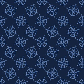Cute blue maritime compass cartoon seamless pattern.