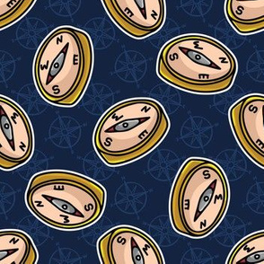 Cute gold maritime compass cartoon seamless pattern.