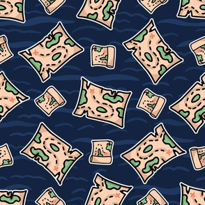 Cute treasure map stripe cartoon seamless pattern.