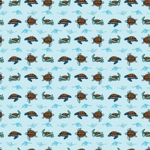 Cute sea turtle group grid cartoon seamless pattern.