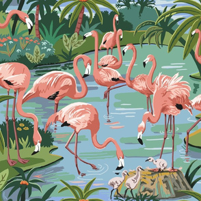 Flamingo Lagoon Paint by Number