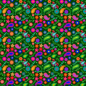 Colorful garden (green background)