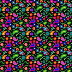 Colorful garden (Black background)