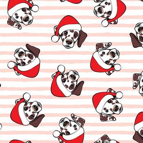 Dalmatians with Santa hats - Christmas dogs - pink stripes (brown spots) - LAD19