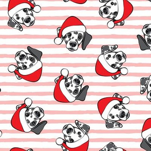 Dalmatians with Santa hats - Christmas dogs - pink stripes (black spots) - LAD19