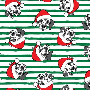 Dalmatians with Santa hats - Christmas dogs - green stripes (black spots) - LAD19