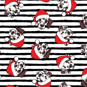 Dalmatians with Santa hats - Christmas dogs - black stripes (brown spots) - LAD19