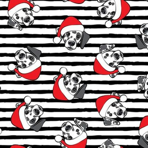 Dalmatians with Santa hats - Christmas dogs - black stripes (black spots) - LAD19