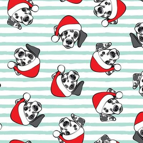 Dalmatians with Santa hats - Christmas dogs - aqua stripes (black spots) - LAD19