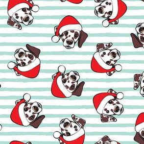 Dalmatians with Santa hats - Christmas dogs - aqua stripes (brown spots) - LAD19