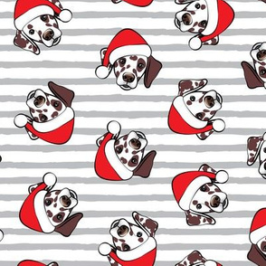 Dalmatians with Santa hats - Christmas dogs - grey stripes (brown spots) - LAD19