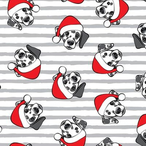 Dalmatians with Santa hats - Christmas dogs - grey stripes (black spots) - LAD19