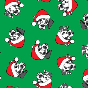 Dalmatians with Santa hats - Christmas dogs - green (black spots) - LAD19