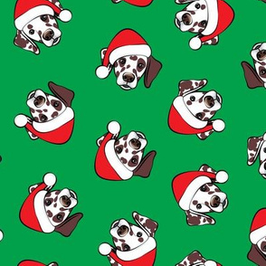 Dalmatians with Santa hats - Christmas dogs - green (brown spots) - LAD19