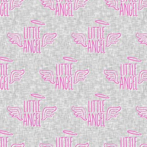 Little Angel - pink on grey - LAD19