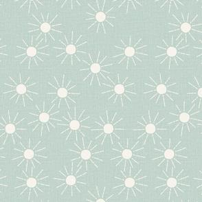 medium // mint green summer suns  scattered sunshine linen