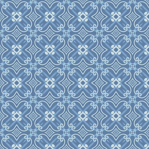 Gwen Quatrefoil, blue, medium