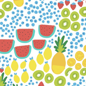 Lg Scale Fruit Party Gouache - Watermelon, Pineapple, Kiwi, Lemon, Strawberry, Oranges and Blueberries