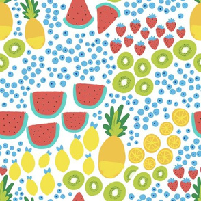Fruit Party Gouache - Watermelon, Pineapple, Kiwi, Lemon, Strawberry, Oranges and Blueberries
