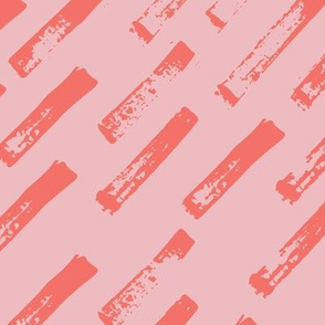 abstract brush strokes - coral on pink