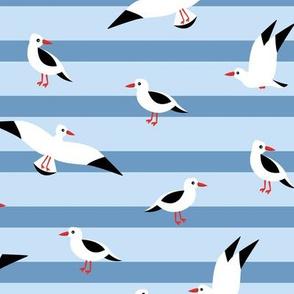 Little Seagull marine sky breton stripes kids ocean print blue