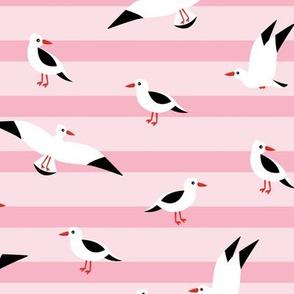 Little Seagull marine sky breton stripes kids ocean print pink