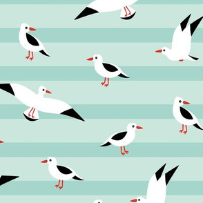 Little Seagull marine sky breton stripes kids ocean print mint